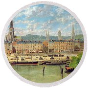 The Port At Rouen Round Beach Towel