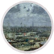 The Port Of Bordeaux Round Beach Towel by Eugene Louis Boudin