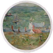 The Port Of Gorey On Jersey Round Beach Towel by Berthe Morisot