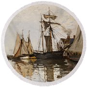 The Port Of Honfleur Round Beach Towel by Claude Monet