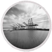 The Port Of Los Angeles Round Beach Towel