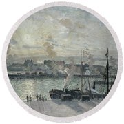 The Port Of Rouen Round Beach Towel