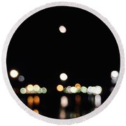 The Port, The Lights, And The Moon Round Beach Towel