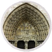 The Portal Of The Last Judgement Of Notre Dame De Paris Round Beach Towel by Fabrizio Troiani