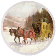 The Post Coach In The Snow Round Beach Towel by Fritz van der Venne