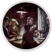 The Potato Eaters, By Vincent Van Gogh, 1885, Kroller-muller Mus Round Beach Towel