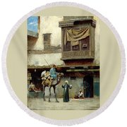 The Pottery Seller In Old City Round Beach Towel