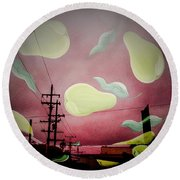The Power Of Pear Round Beach Towel
