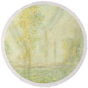 The Prairie In Giverny Round Beach Towel