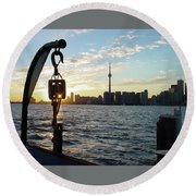 The Precision Of Sunset In The Harbour Round Beach Towel