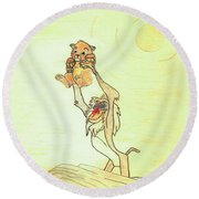 The Presentation Of Simba From Walt Disney's The Lion King Round Beach Towel