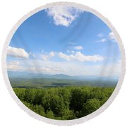 The Presidential Range From The Watchtower At Weeks State Park Round Beach Towel