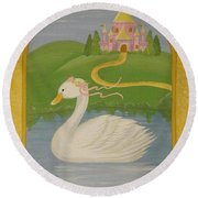 The Princess Swan Round Beach Towel