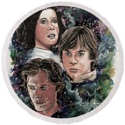 The Princess, The Knight And The Scoundrel Round Beach Towel