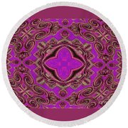 The Princesses Palace In Pink And Gold Round Beach Towel