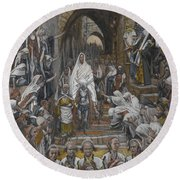 The Procession In The Streets Of Jerusalem Round Beach Towel