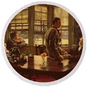 The Prodigal Son In Modern Life  The Departure Round Beach Towel