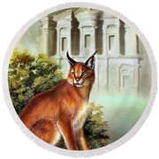 The Protector Of The City Of Petra Round Beach Towel