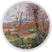 The Puy Barion At Crozant Round Beach Towel