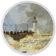 The Quay At Le Havre Round Beach Towel