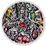 The Queen Of Hearts Round Beach Towel