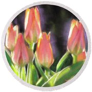 The Queen's Tulips Round Beach Towel