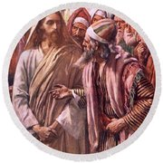 The Question Of The Sadducees Round Beach Towel