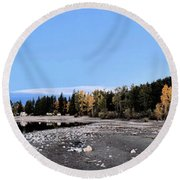 The Quiet Fall Round Beach Towel