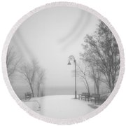 The Quiet Moment Before Snow Touches Ground Round Beach Towel