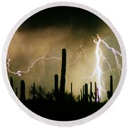 The Quiet Southwest Desert Lightning Storm Round Beach Towel