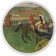The Race Course Round Beach Towel by Edgar Degas