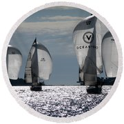 Sails Up - The Race Is On Round Beach Towel