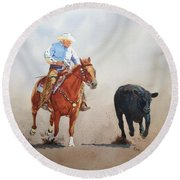 The Race Is On Round Beach Towel