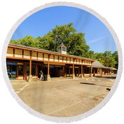 The Railroad Station In Scarsdale Round Beach Towel
