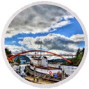 The Rainbow Bridge - Laconner Washington Round Beach Towel