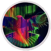The Rainbow Dove  Round Beach Towel