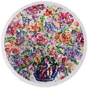 The Rainbow Flowers Round Beach Towel