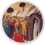 The Raising Of Lazarus Round Beach Towel