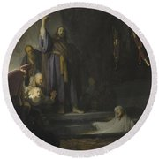 The Raising Of Lazarus Round Beach Towel