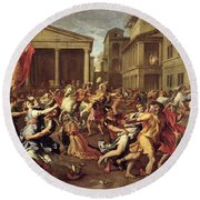 The Rape Of The Sabines Round Beach Towel