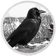 The Raven - Black And White Round Beach Towel
