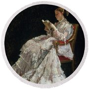 The Reader Round Beach Towel by Alfred Emile Stevens