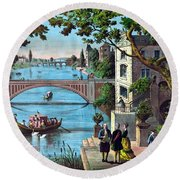 The Reception Of Benjamin Franklin In France Round Beach Towel