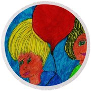 The Red Balloon  Round Beach Towel