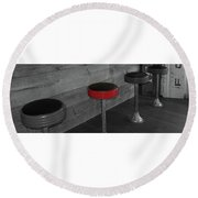 The Red Bar Stool Round Beach Towel