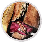 The Red Boot Round Beach Towel