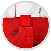 The Red Bucket Round Beach Towel