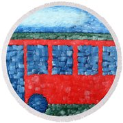 The Red Bus Round Beach Towel