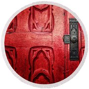 The Red Church Door Round Beach Towel