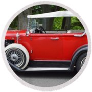 The Red Convertible Round Beach Towel